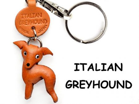 ITALIAN GREYHOUND LEATHER DOG KEYCHAIN VANCA