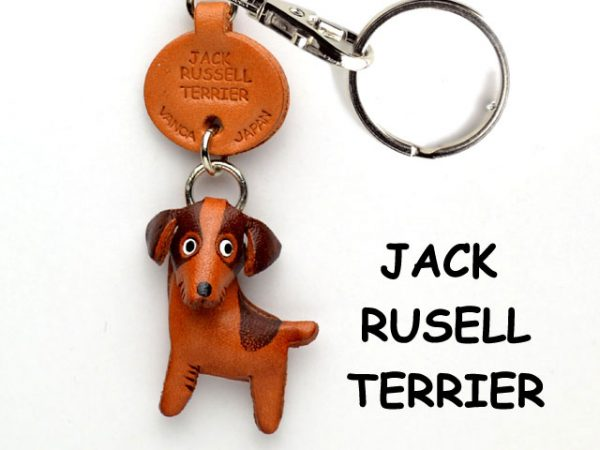 JACK RUSSELL TERRIER LEATHER DOG KEYCHAIN VANCA