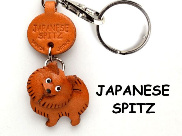 JAPANESE SPITZ LEATHER DOG KEYCHAIN VANCA