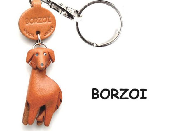 BORZOI LEATHER DOG KEYCHAIN VANCA