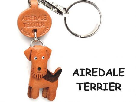 Airedale Terrier Leather Dog Keychain VANCA