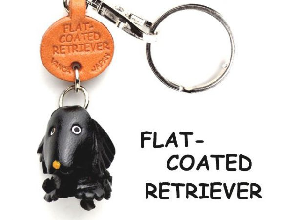 FLATCOATED RETRIEVER LEATHER DOG KEYCHAIN VANCA