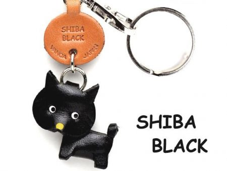 SHIBA DOG BLACK LEATHER DOG KEYCHAIN VANCA