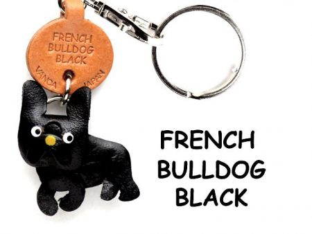 FRENCH BULLDOG BLACK LEATHER DOG KEYCHAIN VANCA