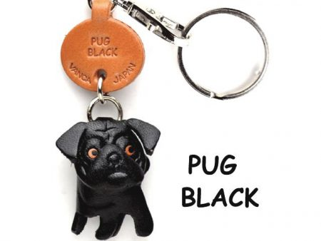 PUG BLACK LEATHER DOG KEYCHAIN VANCA
