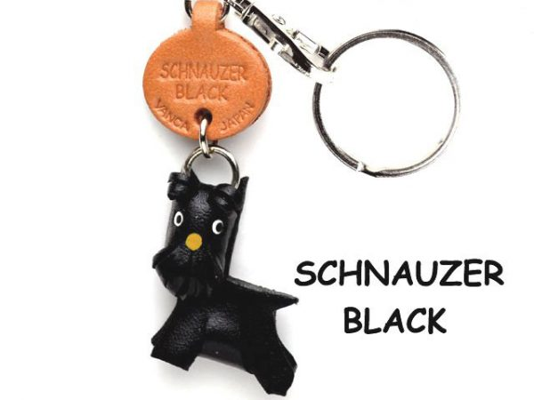 SCHNAUZER BLACK LEATHER DOG KEYCHAIN VANCA