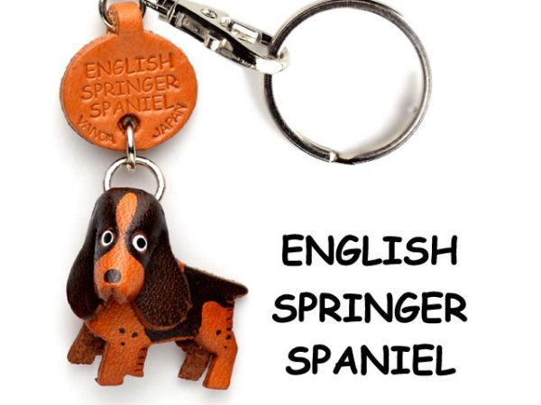 ENGLISH SPRINGER LEATHER DOG KEYCHAIN VANCA