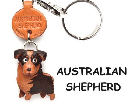 AUSTRALIAN SHEPHERD LEATHER DOG KEYCHAIN VANCA