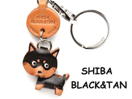 SHIBA DOG BLACK&TAN LEATHER DOG KEYCHAIN VANCA