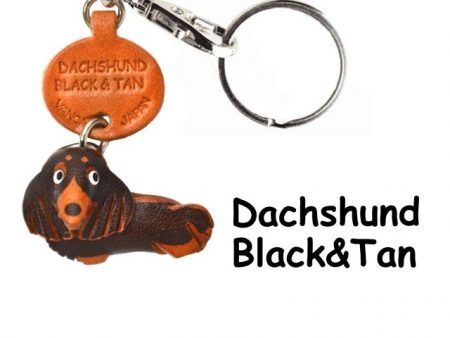 DACHSHUND LONG B&T LEATHER DOG KEYCHAIN VANCA