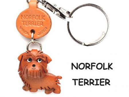 NORFOLK TERRIER LEATHER DOG KEYCHAIN VANCA
