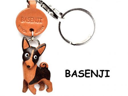 BASENJI LEATHER DOG KEYCHAIN VANCA