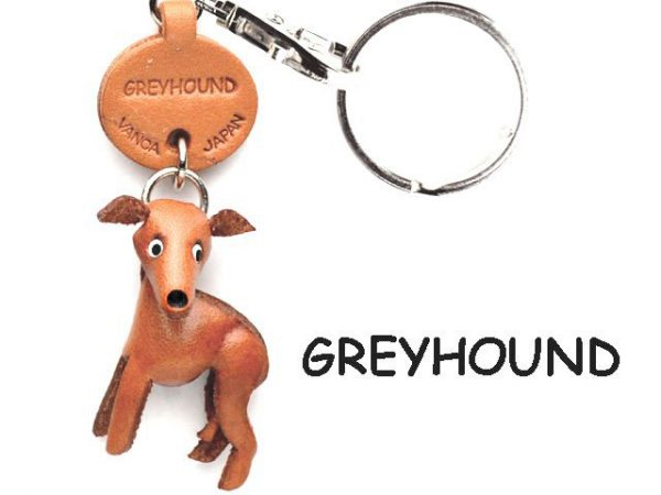 GREYHOUND LEATHER DOG KEYCHAIN VANCA