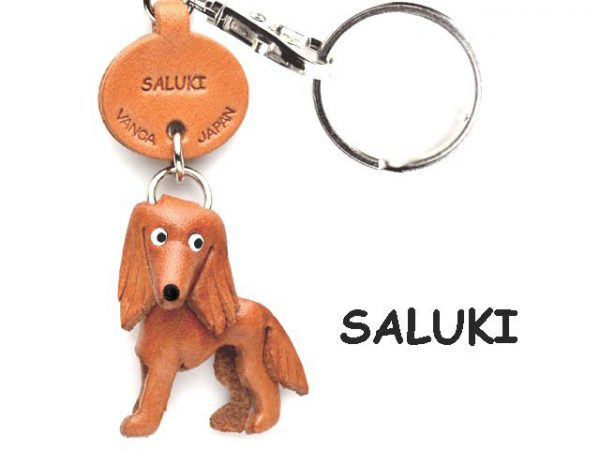 SALUKI LEATHER DOG KEYCHAIN VANCA