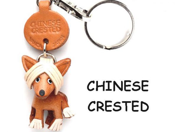 CHINESE CRESTED LEATHER DOG KEYCHAIN VANCA
