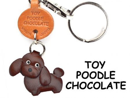TOY POODLE CHOCOLATE BROWN LEATHER DOG KEYCHAIN VANCA
