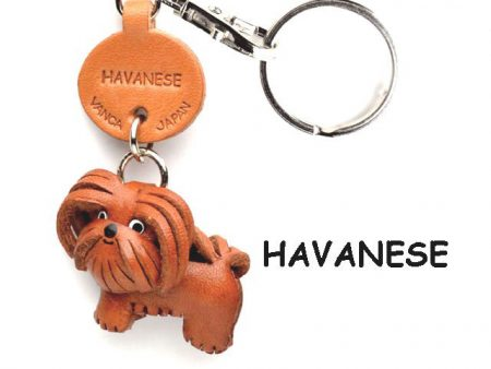 HAVANESE LEATHER DOG KEYCHAIN VANCA