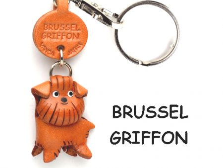 BRUSSELS GRIFFON LEATHER DOG KEYCHAIN VANCA