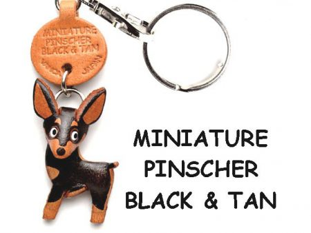 MINIATURE PINSCHER BLACK&TAN LEATHER DOG KEYCHAIN VANCA