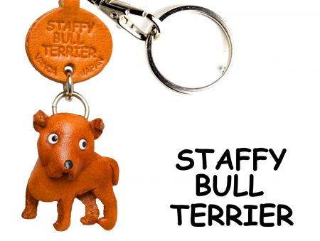 STAFFORDSHIRE BULLTERRIER LEATHER DOG KEYCHAIN VANCA