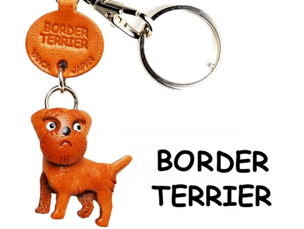 BORDER TERRIER LEATHER DOG KEYCHAIN VANCA