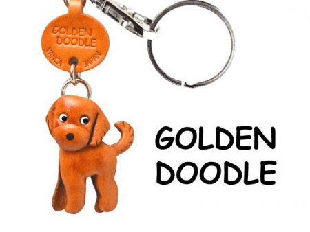 GOLDENDOODLE LEATHER DOG KEYCHAIN VANCA