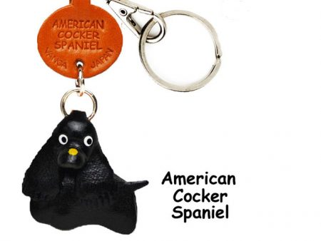 AMERICAN COCKER SPANIEL BLACK LEATHER DOG KEYCHAIN VANCA