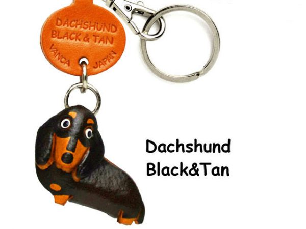 DACHSHUND SMOOTH BLACK&TAN LEATHER DOG KEYCHAIN VANCA