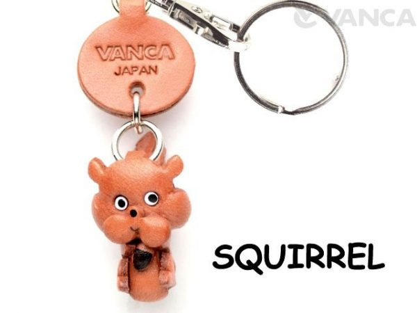 SQUIRREL LEATHER KEYCHAINS ANIMAL VANCA