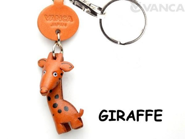 GIRAFFE LEATHER KEYCHAINS ANIMAL VANCA