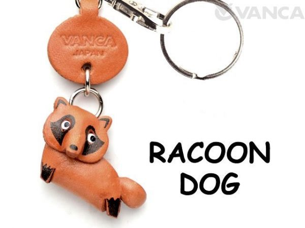 RACCOON DOG LEATHER KEYCHAINS ANIMAL VANCA