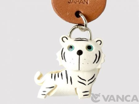 WHITE TIGER LEATHER KEYCHAINS ANIMAL VANCA