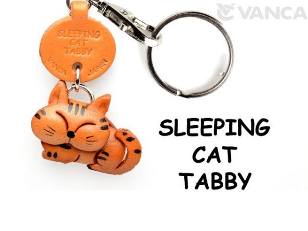 TABBY SLEEPING JAPANESE LEATHER KEYCHAIN CAT VANCA