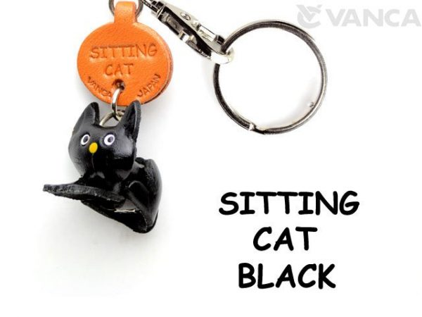 BLACK SITTING LEATHER KEYCHAINS CAT VANCA