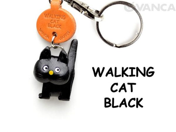 BLACK WALKING LEATHER KEYCHAINS CAT VANCA