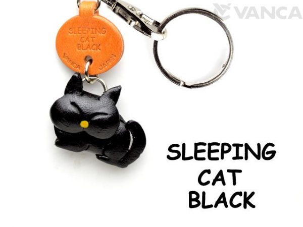 BLACK SLEEPING LEATHER KEYCHAINS CAT VANCA