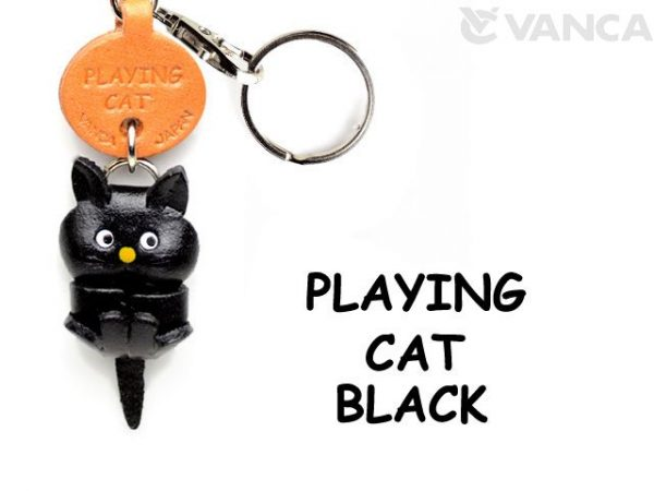 BLACK PLAYING LEATHER KEYCHAINS CAT VANCA