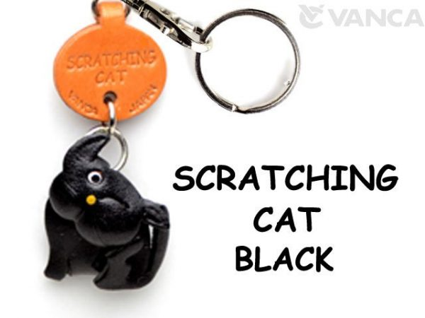 BLACK SCRATCHING LEATHER KEYCHAINS CAT