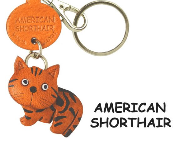 AMERICAN SHORTHAIR LEATHER KEYCHAIN CAT VANCA