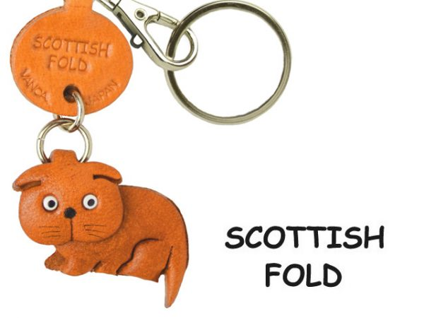SCOTTISH FOLD LEATHER KEYCHAIN CAT VANCA