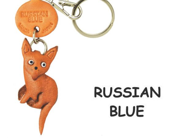 RUSSIAN BLUE LEATHER KEYCHAIN CAT VANCA