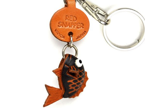 RED SNAPPER LEATHER KEYCHAINS FISH VANCA