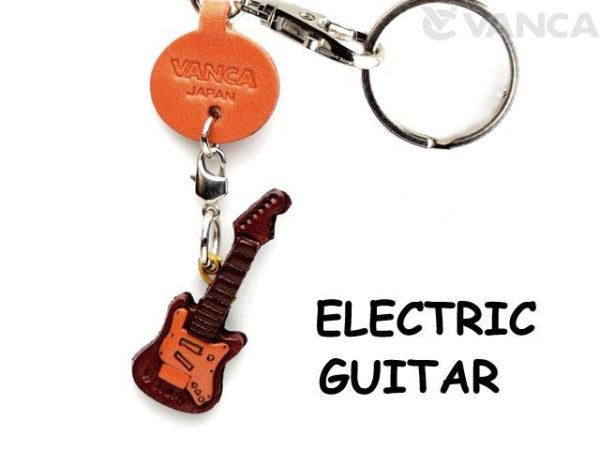 ELECTRIC GUITAR LEATHER KEYCHAIN