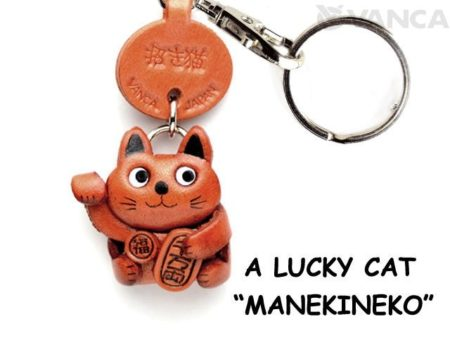 LUCKY CAT/MANEKINEKO LEATHER KEYCHAIN