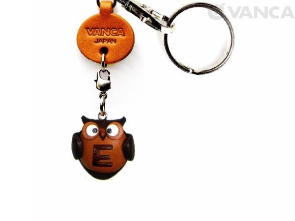 INITIAL OWL E LEATHER ANIMAL KEYCHAIN