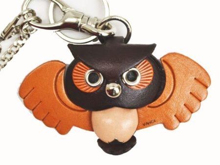 OWL LEATHER ANIMAL BAG CHARM