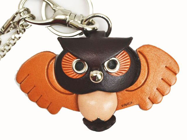 OWL LEATHER ANIMAL BAG CHARM