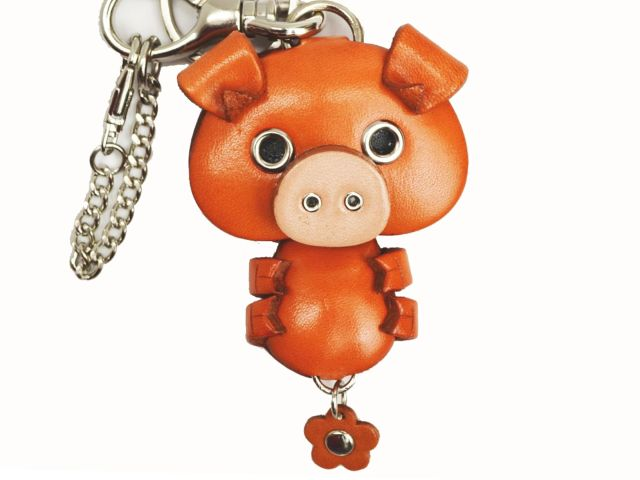 PIG LEATHER ANIMAL BAG CHARM