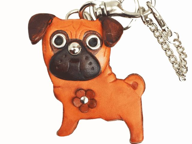 PUG LEATHER DOG BAG CHARM