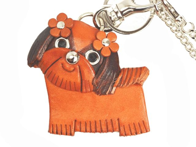 SHIH TZU LEATHER DOG BAG CHARM